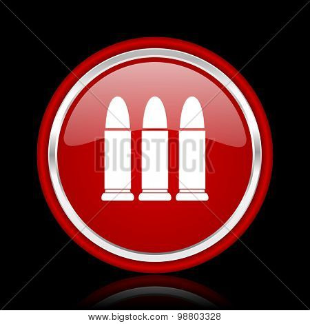 ammunition red glossy web icon chrome design on black background with reflection