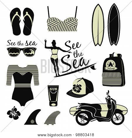 Surfer retro girl vector set. Vintage surf elements.