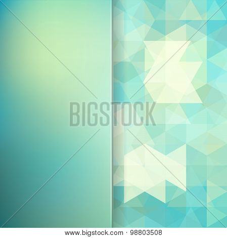Abstract Background Consisting Of  Green Triangles And Matt  Glass