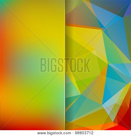 Abstract Background Consisting Of Blue, Green, Yellow, Red Triangles And Matt  Glass