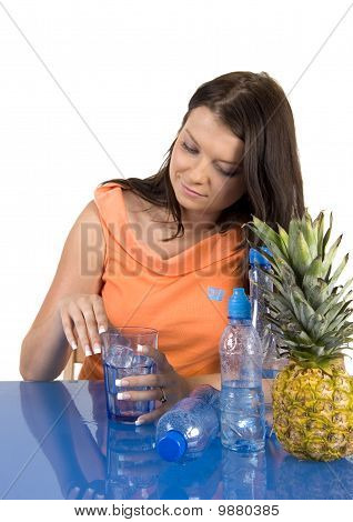 Girl drinking healthy mineral water