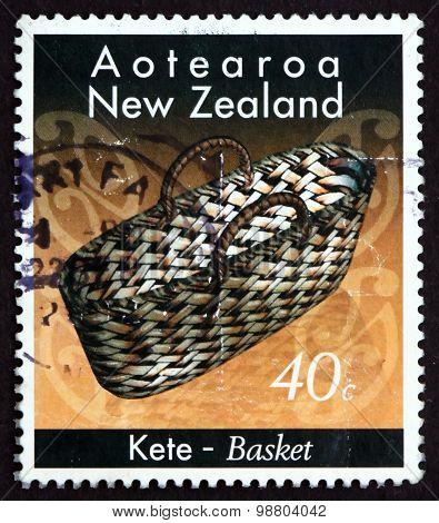 Postage Stamp New Zealand 1996 Basket, Maori Crafts