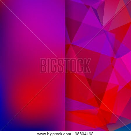 Abstract Background Consisting Of Pink, Purple, Red, Blue Triangles And Matt  Glass