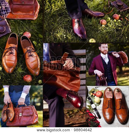 a collage of nine pictures of different men shoes Gentlemen's Fashion and Accessories. Set of design menswear. Exclusive mens clothing. Set of design menswear. Exclusive mens clothing.
