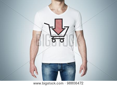 Close-up Of A Man In A White T-shirt With A Sketch Of The Red Down Arrow And The Basket. A Concept O