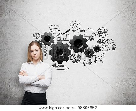 A Young Business Woman With Crossed Hands. Gears Are Drawn On The Concrete Wall. A Concept Of The Bu