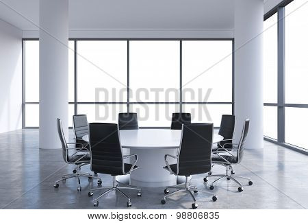 Panoramic Conference Room In Modern Office, Copy Space View From The Windows. Black Chairs And A Whi