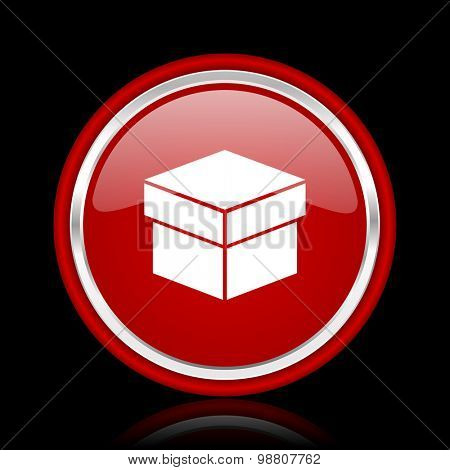 box red glossy web icon chrome design on black background with reflection
