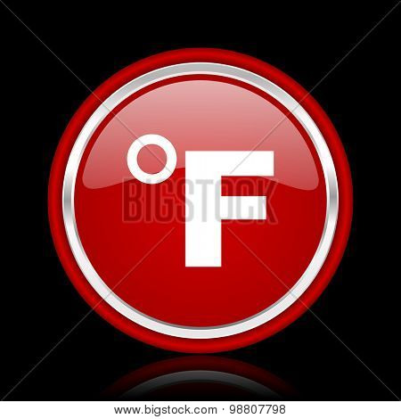 fahrenheit red glossy web icon chrome design on black background with reflection