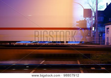 Blurred express train