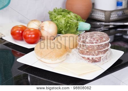 Ingredients For Hamburger Before Cooking