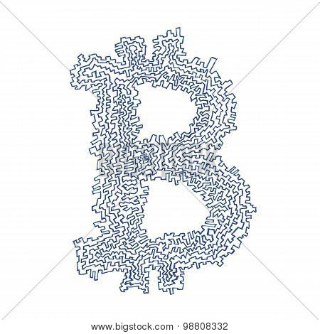 Serrated Bitcoin Hand-drawn Symbol