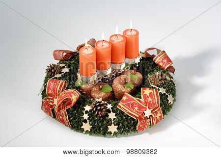 Advent Wrath With Burning Candles, Christmas Decoration