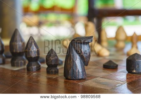 Back Wooden Chess On Chess Board