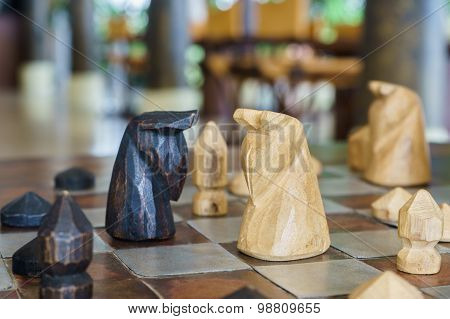 Wooden Chess On Chess Board Ready To Battle