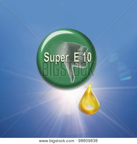 Button Showing Thumbs Down Sign With Biofuel Drop Against White Background