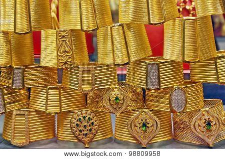 Golden bracelets on grand bazaar Istanbul