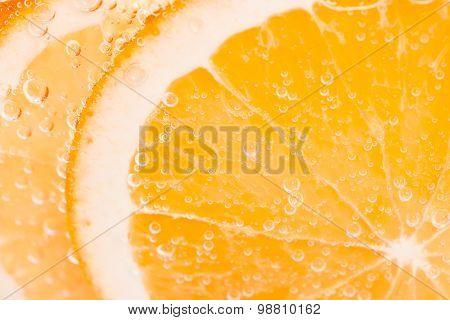 Orange Fruit Background With Bubbles