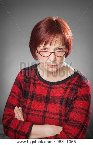 Red-haired Woman, Portrait, Facial Expression, Serious, Aggressive