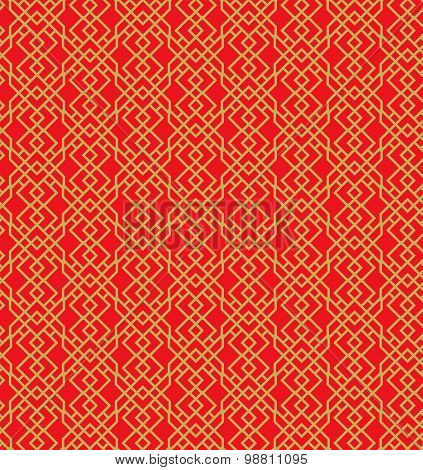 Seamless Chinese window tracery diamond geometry pattern background.