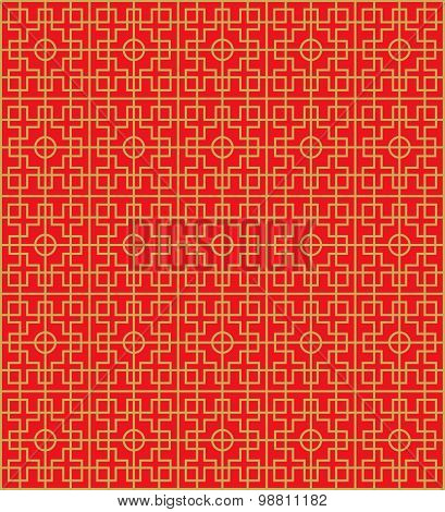 Seamless Chinese window tracery square round geometry pattern background.