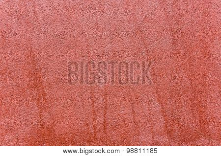 Close Up Of Outside Wall With Red Colored Ornate Plaster, Texture Background