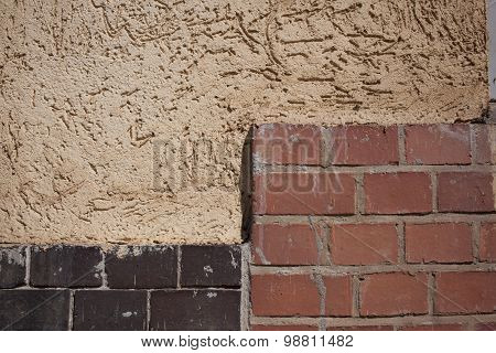 Outside Wall, Plaster And Bricks