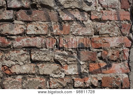 Outside Wall, Old Plaster And Bricks
