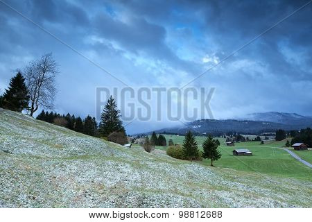 Winter Morning In Alpine Countryside