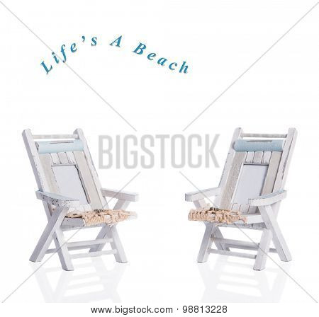Two deck chairs on a white background - text easily removed