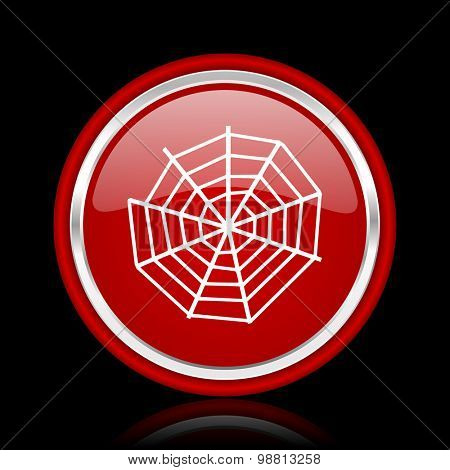 spider web red glossy web icon chrome design on black background with reflection