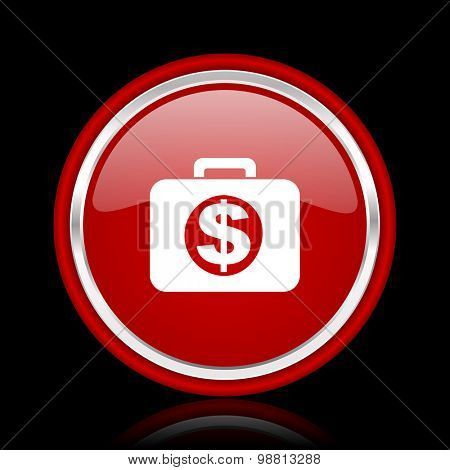 financial red glossy web icon chrome design on black background with reflection