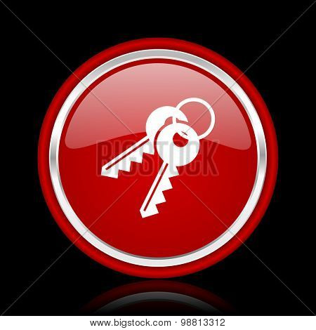 keys red glossy web icon chrome design on black background with reflection