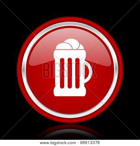 beer red glossy web icon chrome design on black background with reflection