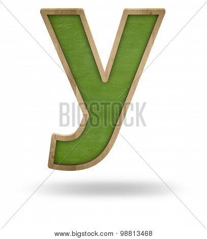 Green blank letter y shape blackboard