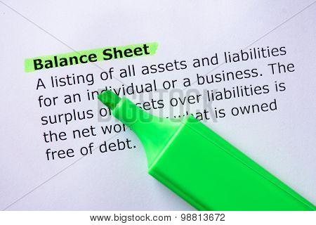 .balance Sheet.