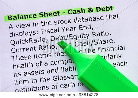 Balance Sheet - Cash & Debt