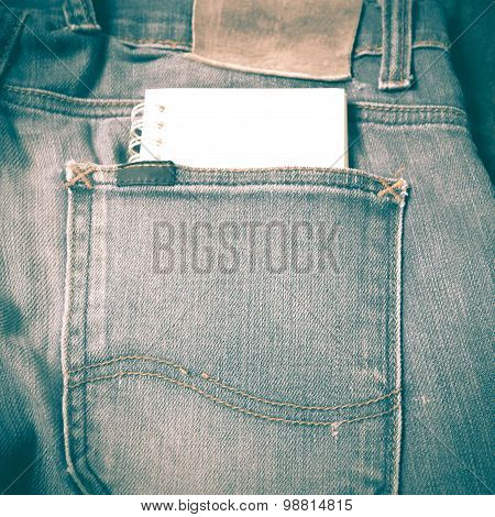 Notebook Paper In Jean Pocket Retro Vintage Style