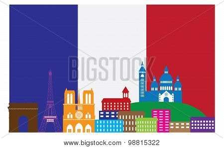 Paris Skyline In French Flag Color Vector Illustration