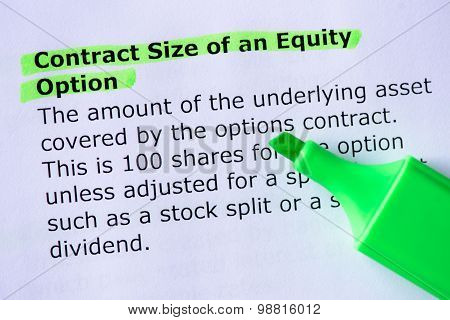 Contract Size Of An Equity Option