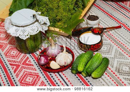 Pickling Cucumbers, Pickling - Cucumbers, Herbs, Spices, Salt, Hohloma, Russian Style. Recipes. Harv