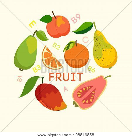 Healthy food fruit and vitamins