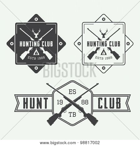 Set Of Vintage Hunting Labels, Logo, Badge And Design Elements.