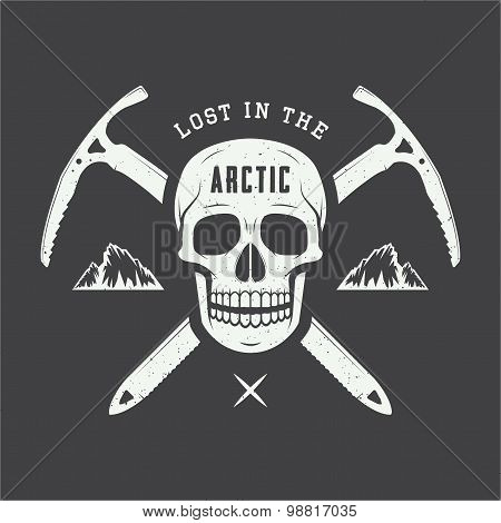 Vintage Arctic Skull With Ice Axes, Mountains And Slogan.