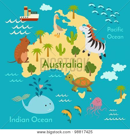 Animals world map Australia