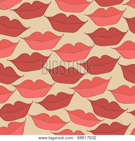 pattern with lips in a smile