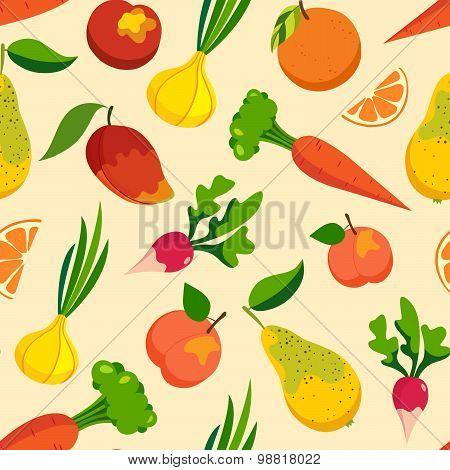 Vegetables & fruit pattern background