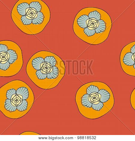 Vector seamless pattern with persimmon