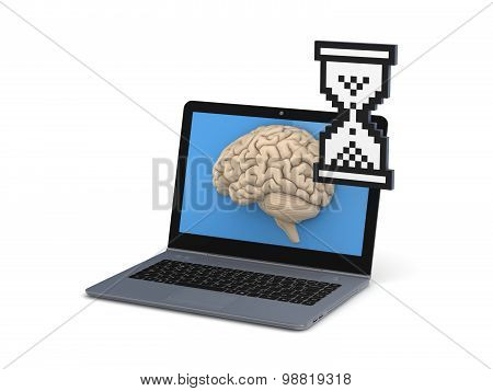 Human brain on a screen of laptop.