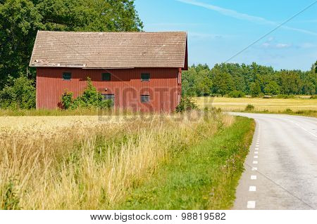 Farm Building And Roadside